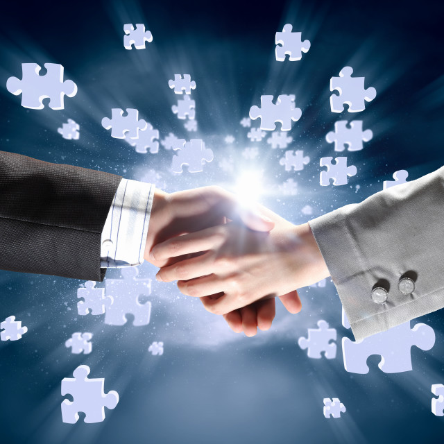 """""""Working in collaboration"""" stock image"""