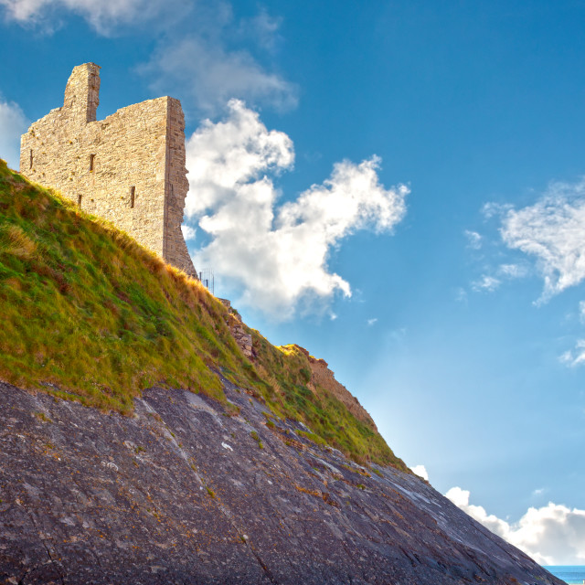 """ballybunion castle with the cliff face"" stock image"