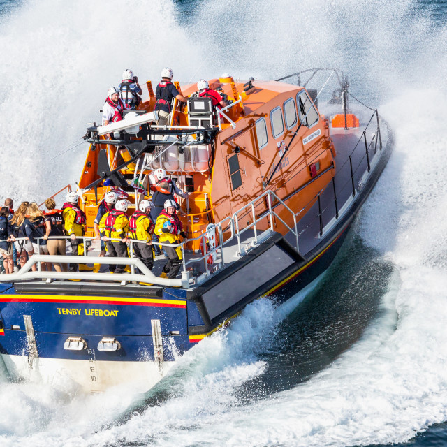 """Tenby Lifeboat Launch"" stock image"