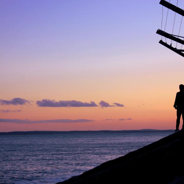 """Sunset Silhouette, Eastney"" stock image"