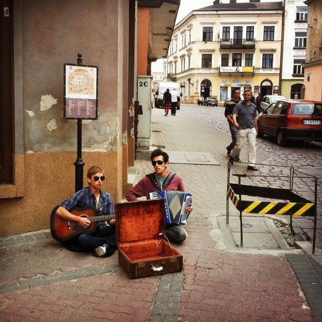 """Street performers in Tarnów, Poland"" stock image"
