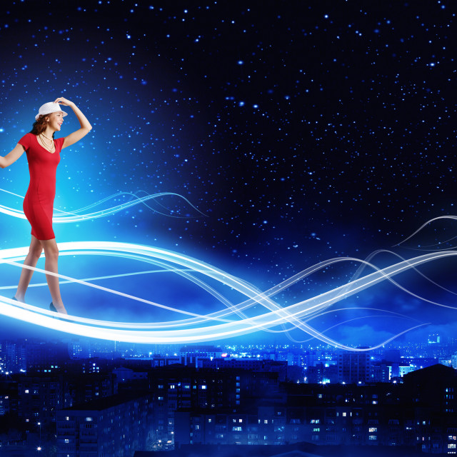 """""""Woman in red"""" stock image"""