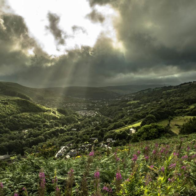 """Veil of light over the Rhondda"" stock image"