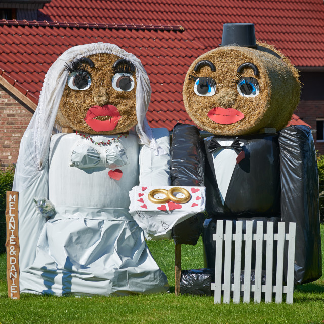 """straw bale formed figures of a wedding couple"" stock image"