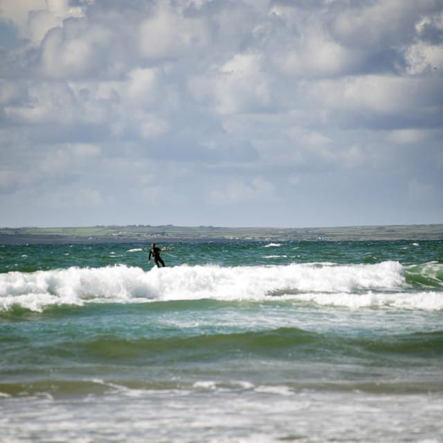 """kite surfer on beautiful storm waves"" stock image"