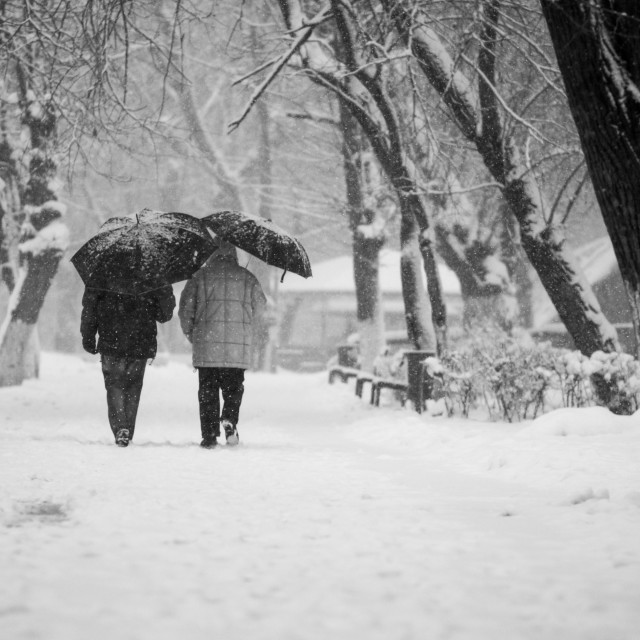 """Snowing urban landscape"" stock image"