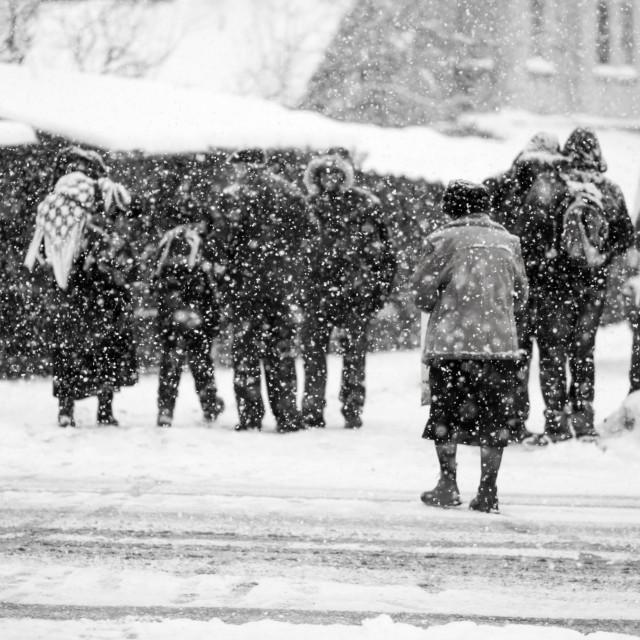 """Snowing urban landscape"" stock image"
