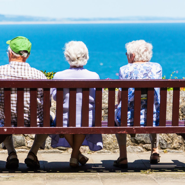 """Pensioners on holiday."" stock image"