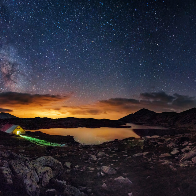 """Milky way over the Tevno lake, Pirin mountain"" stock image"