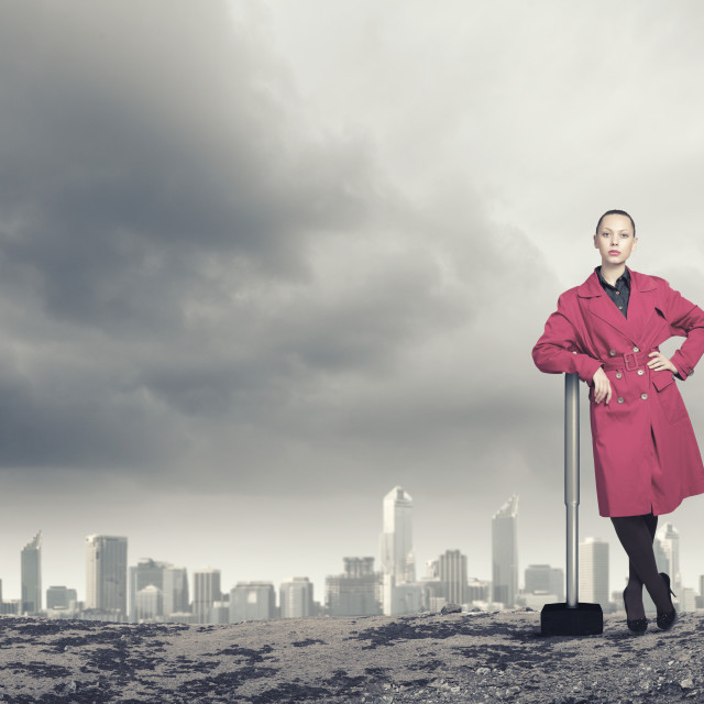 """""""Woman with hammer"""" stock image"""