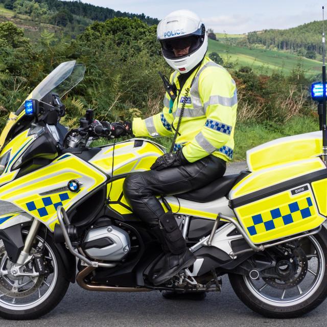 """Police Motorcyclist UK"" stock image"