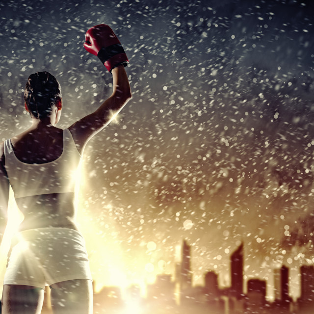 """""""Young boxer woman"""" stock image"""
