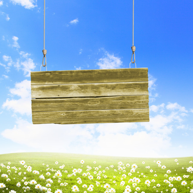 """Wooden blank banner"" stock image"