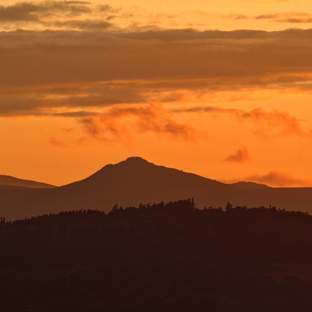 """Bennachie sunset"" stock image"