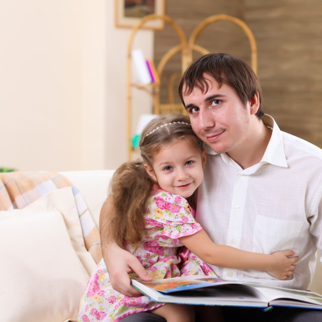 """father with a daughter at homes"" stock image"