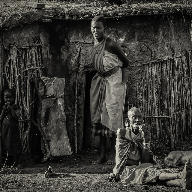 """Masai Villagers"" stock image"