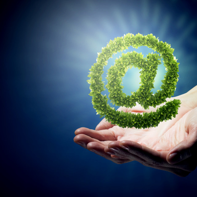 """Green grass email symbol"" stock image"