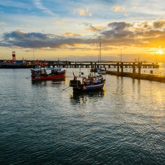 """Halfpenny Pier Sept 2016 Sunset"" stock image"
