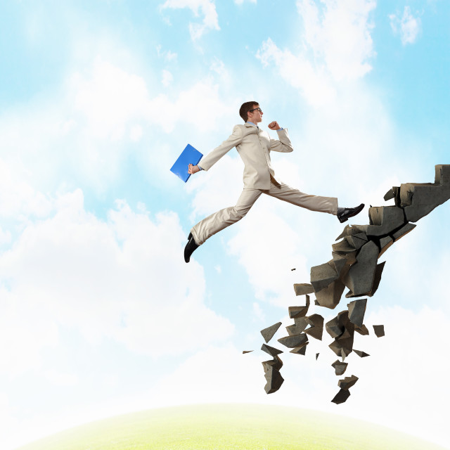 """""""Up the career ladder overcoming challenges"""" stock image"""