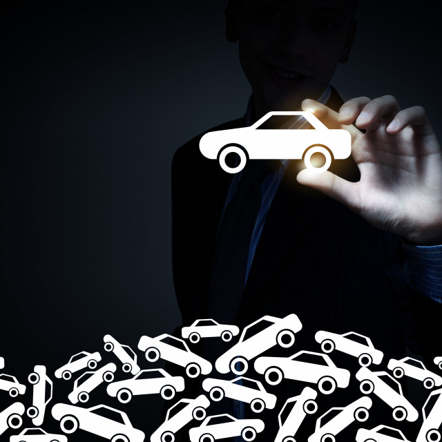 """Man choosing car sign"" stock image"