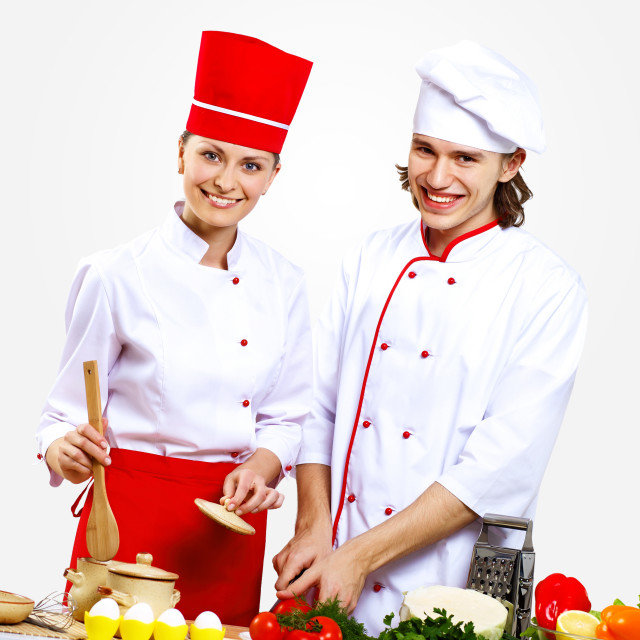 """Portrait of a young cook in uniform"" stock image"