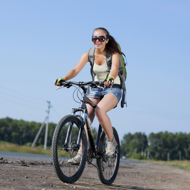 """Summer bike walk"" stock image"