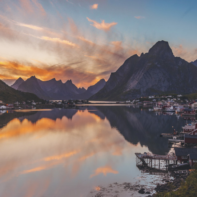 """Sunset in Reine"" stock image"