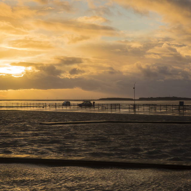 """Stormy West Kirby Sunset"" stock image"