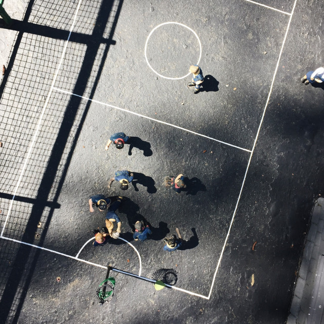 """Overhead view of a miniature game of basketball."" stock image"