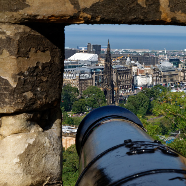 """Cannon at Edinburgh Castle"" stock image"