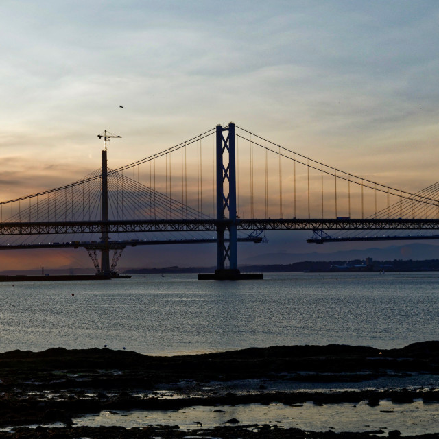 """The Forth Road Bridge and the Forth Crossing"" stock image"
