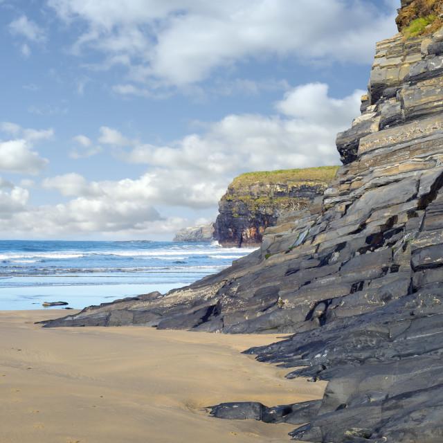 """wild atlantic cliffs ireland"" stock image"