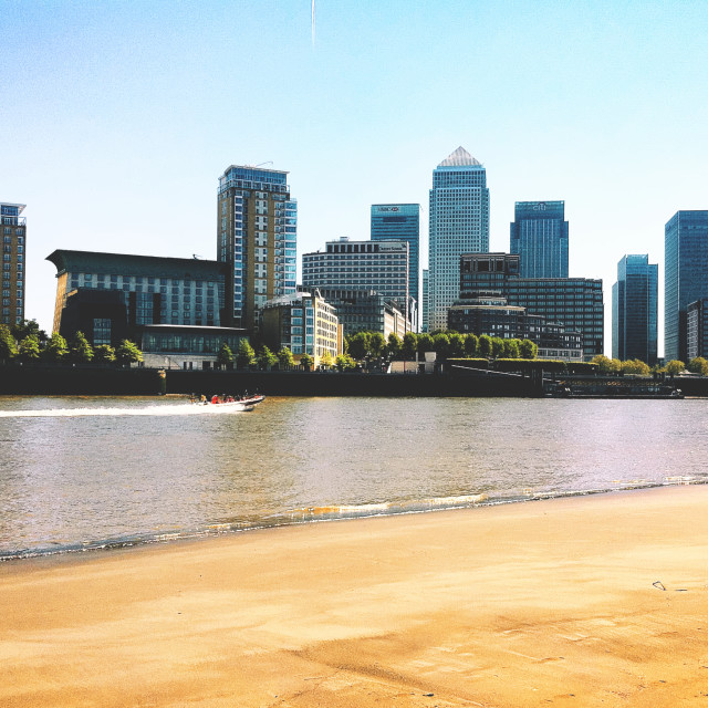 """Canary Wharf from Rotherhithe"" stock image"
