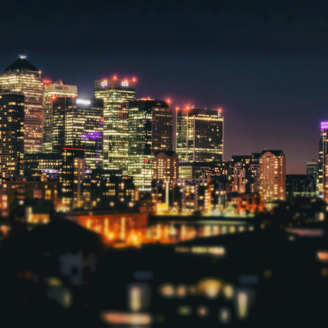 """Canary Wharf at Night"" stock image"