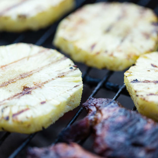 """Grilled Pineapple and Lamb Steaks"" stock image"