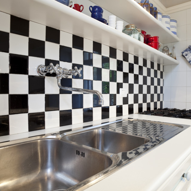"""Chessboard tiles kitchen detail"" stock image"