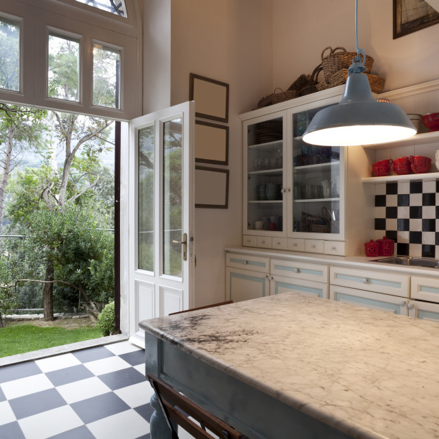 """""""Ground floor kitchen with access to the garden"""" stock image"""