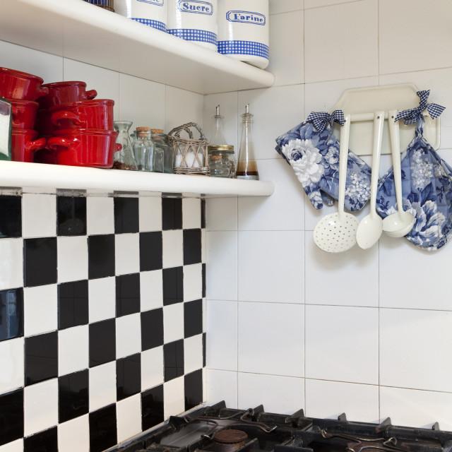 """Chessboard tiled kitchen interior"" stock image"