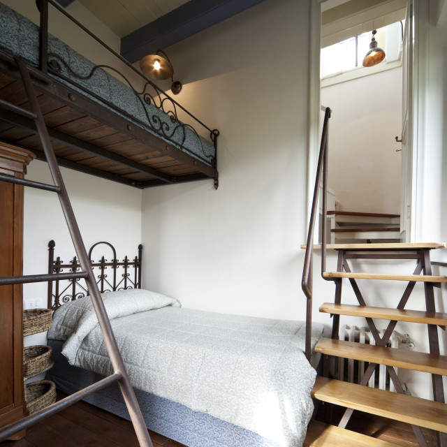"""""""Bedroom interior and wooden stairs"""" stock image"""