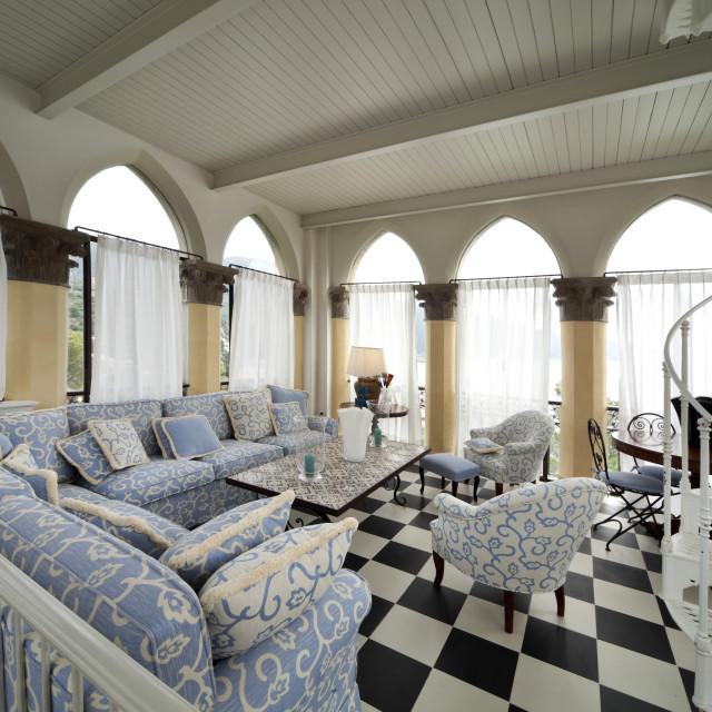 """Wide livingroom interior"" stock image"