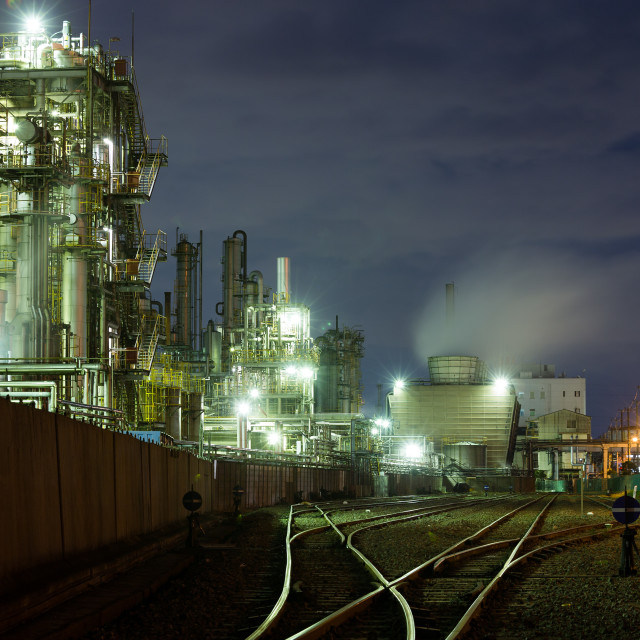 """Industrial Factory working at night in kawasaki"" stock image"