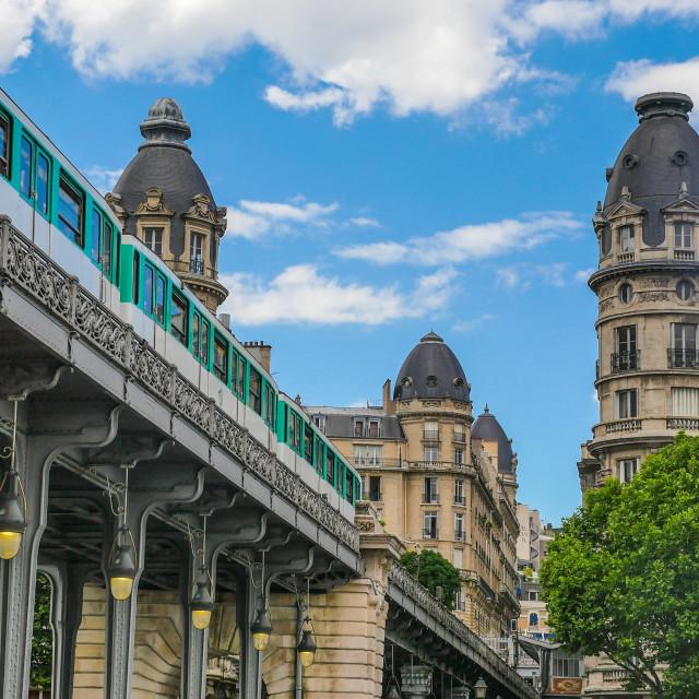 """""""Pont de Bir Hakeim in Paris, France, bridge for Metro"""" stock image"""