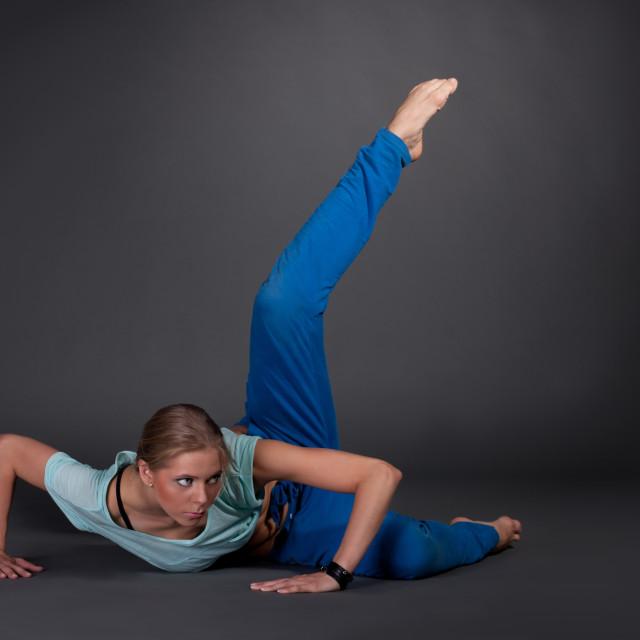 """""""beautiful woman stretching"""" stock image"""