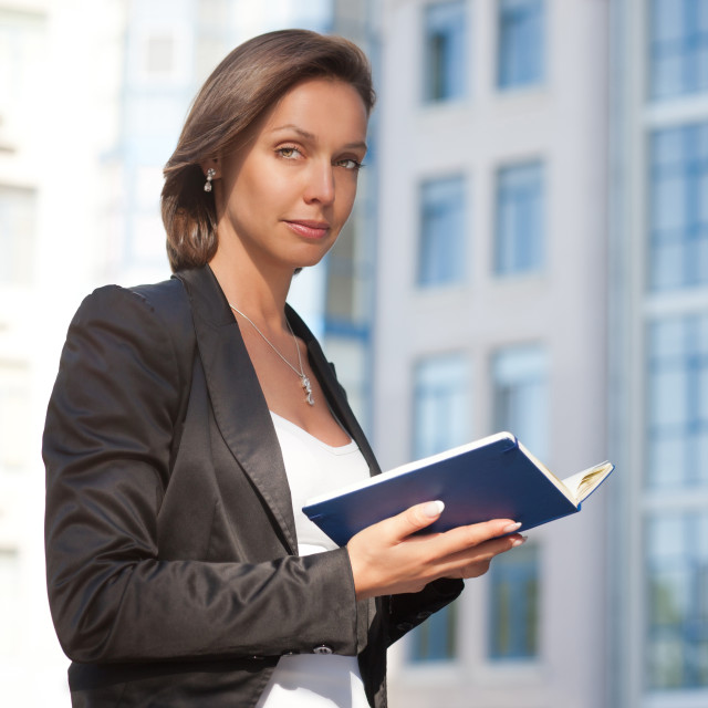"""Business woman with diary"" stock image"