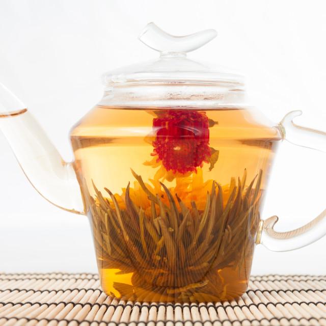 """Teapot with green tea"" stock image"