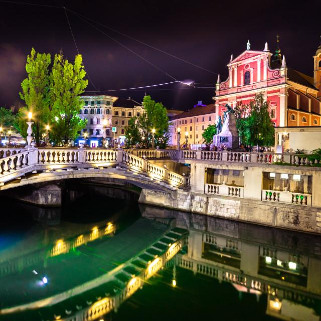 """""""Slovenia Ljubljana Tromostovje Ljublianica river Church"""" stock image"""