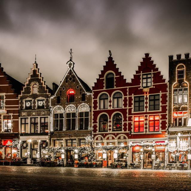 """""""Decorated and illuminated Market square in Bruges, Belgium"""" stock image"""