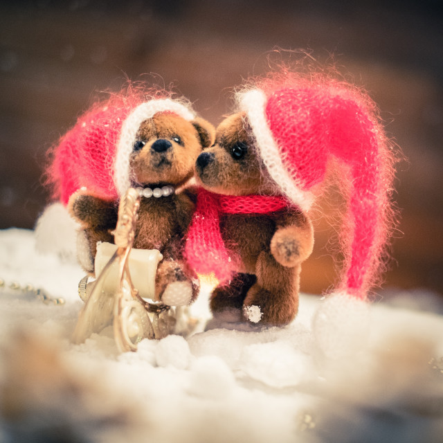 """Small toy bears on a sleigh in christmas still life"" stock image"
