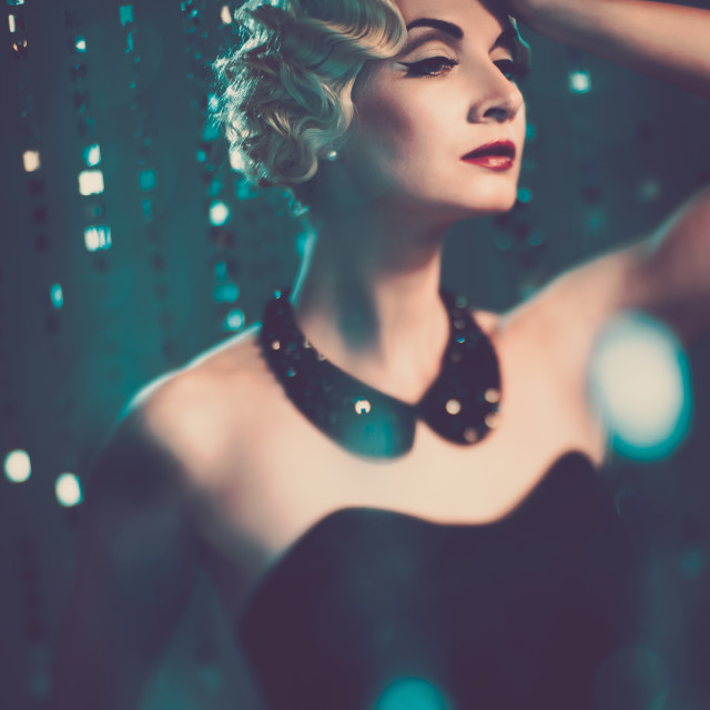 """Elegant blond retro woman with beautiful hairdo"" stock image"