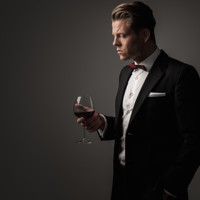 """Confident sharp dressed man with glass of wine"" stock image"